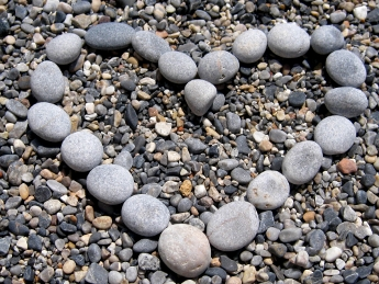 pebble heart Crete Greece
